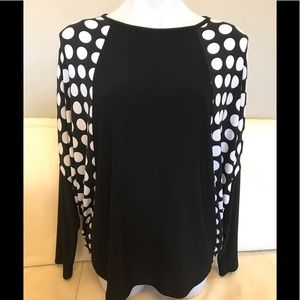 Joseph Ribkoff Polka Dot Black and White Top